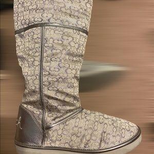 Coach Shoes - Coach silver Nikole boots